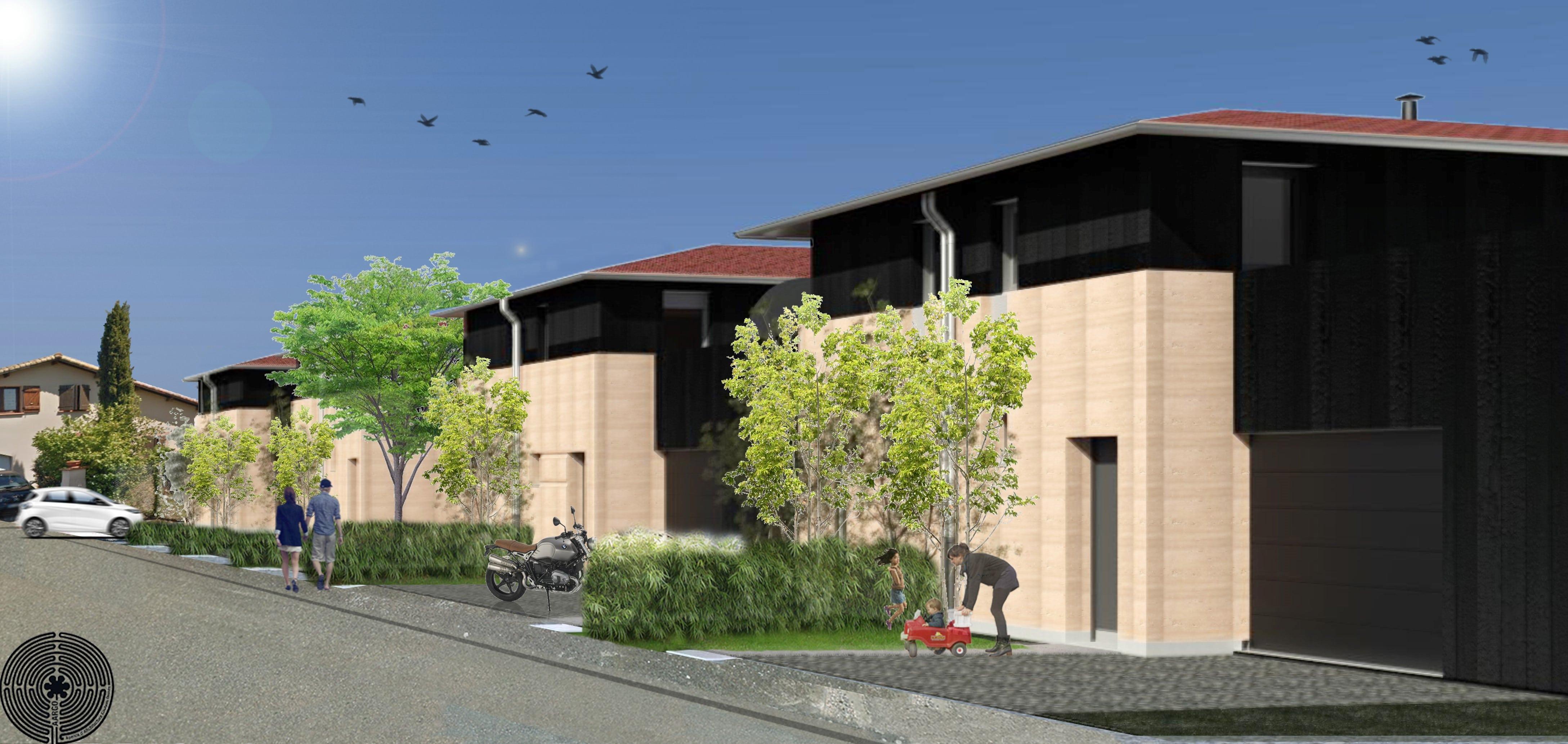 Projet de maisons individuelles avec murs en béton de terre © Goulven Omnes