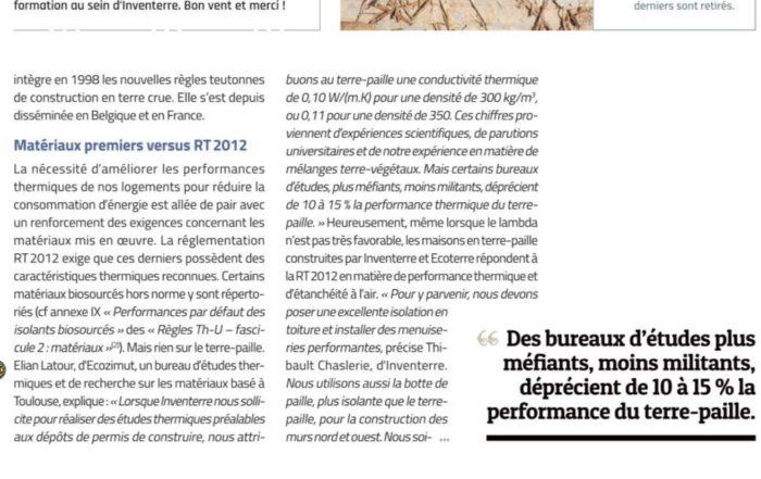 Elian Latour cité dans le numero octobre/novembre 2017 du magazine La Maison écologique - Le terre-paille prend du galon