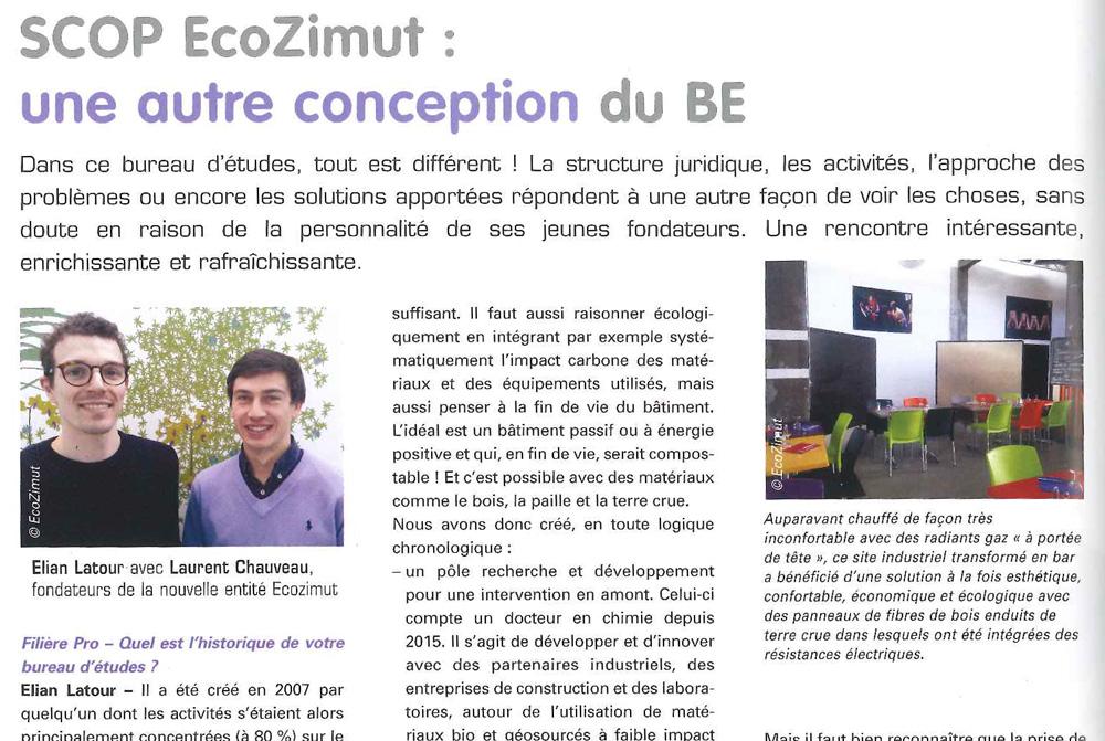 """Retrouvez l'interview de notre spécialiste #construction #écologique Elian Latour dans le dernier numéro du magazine FilierePro . L'article """"SCOP ECOZIMUT : une autre conception du BE"""" vous permettra d'en savoir un peu plus sur nous et nos activités."""