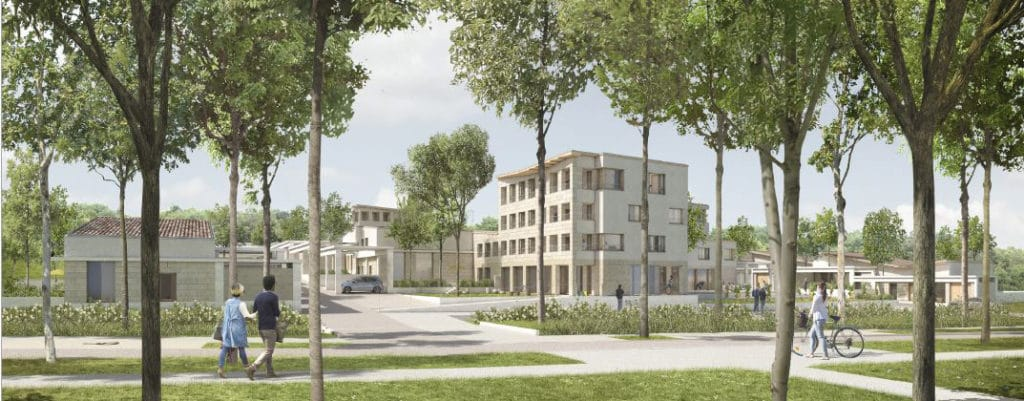 Construction de 55 logements en brique de terre de site ZAC de Monge à Cornebarrieu